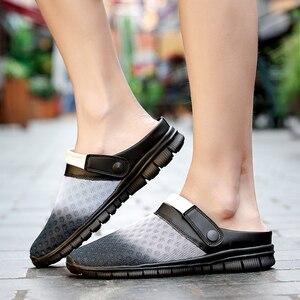Image 5 - 2020 męskie sandały klapki Mesh oddychająca mężczyzna kobieta buty męskie Sandalias letnie buty Sandalen Sandalet duży rozmiar 46 47