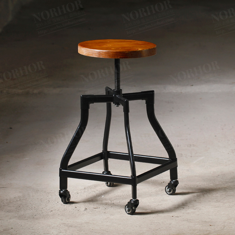 Minimalist Modern / Retro Mining / French Industrial Design Chair / Metal  Bar Stool Elm Pulley