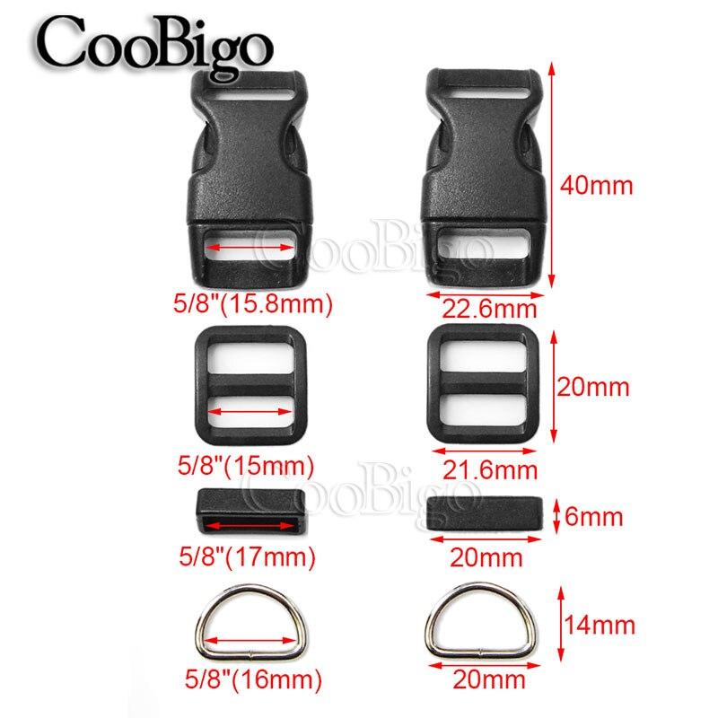 6 sets Dog collar hardware for 1/'/' webbing side release buckle d ring triglide
