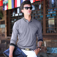 Business And Fashion New Classic Lapel Spell Color Men S Long Sleeves T Shirt