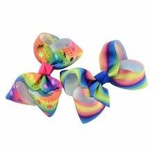 8pcs/lot 3 Inch Gradient Rainbow Bow tie Unicorn Print Grosgrain Ribbon hair Bows With Clip Boutique Hairpins Hair Accessory цена 2017