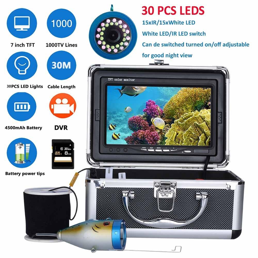 7 pouces DVR Enregistreur 1000tvl Sous-Marine Pêche Caméra Vidéo Kit 30 pcs LED ou 15 pcs Blanc Led + 15 pcs IR LED 15 m 30 m