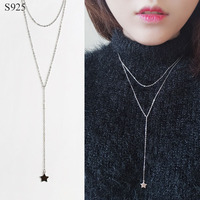 Genuine Real Pure Solid 925 Sterling Silver Pendant Long Necklace For Women Jewelry Bijoux Female Chain