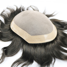 SimBeauty 100% Human Hair Toupee For Men Mono Lace With NPU Human Hair Toupee Replacement System Natural Straight 5 Colors