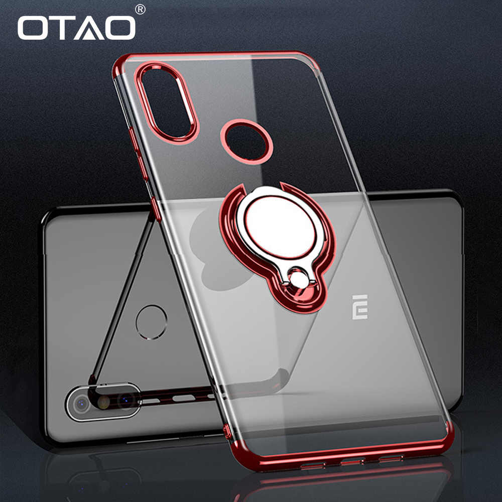OTAO Car Magnetic Holder Phone Case For Xiaomi Mi 8 Lite 8 SE Pro Max 3 Plating Transparent Cases Finger Ring Holder Cover Case