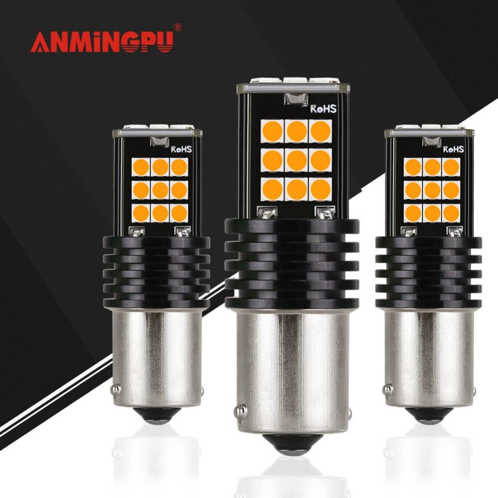 ANMINGPU 24 2x10 w Lâmpada de Sinal Do Carro levou 3030 SMD 1156 Ba15s Led P21W PY21 BAU15S Turn Signal lâmpada de luz de Estacionamento Traseiro Reverso R5W