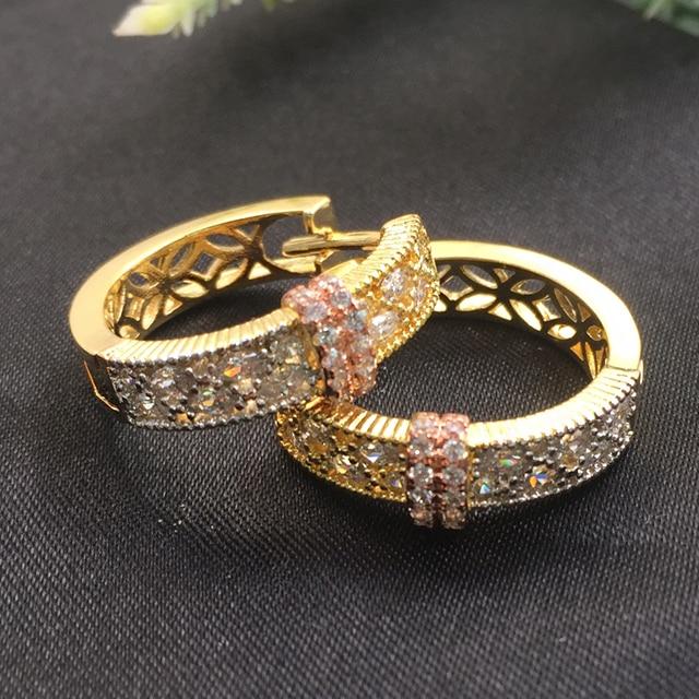 2c8b19113bb3 Lanyika joyería de moda hueco neoterico círculo oreja bucles Micro chapado  romántico boda fiesta pendientes nupcial diario mejor regalo
