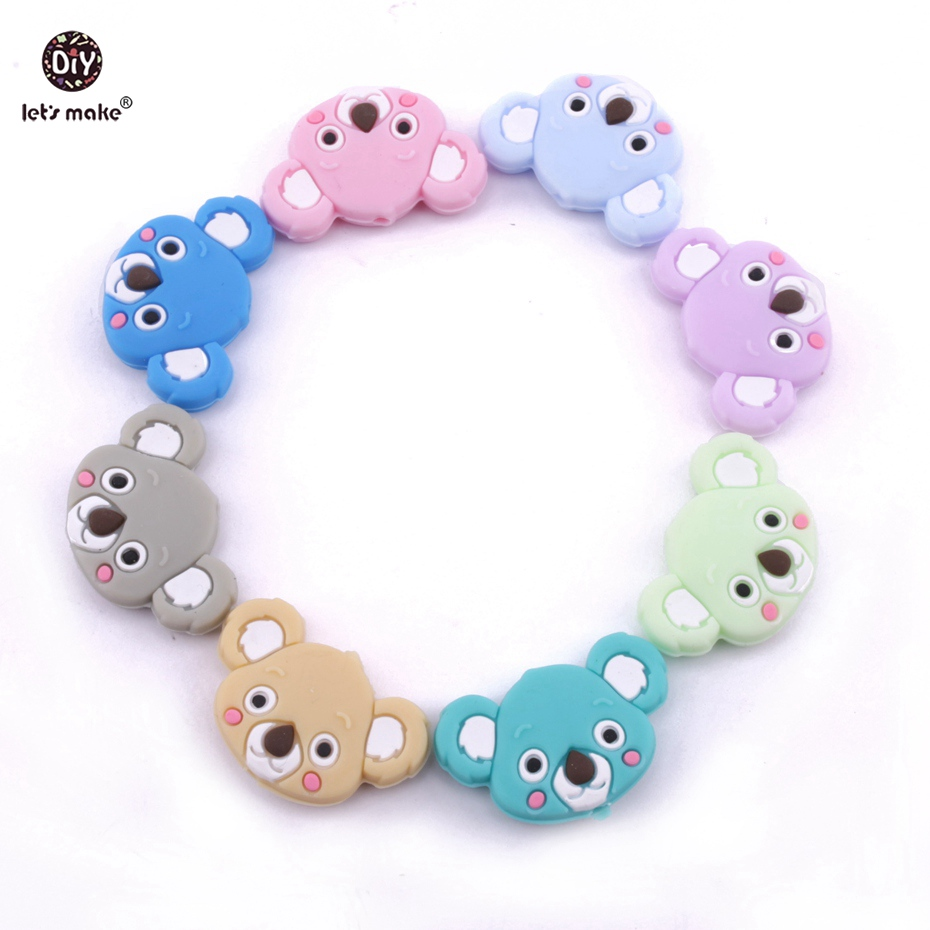 Let's Make Baby Nursing Silicone Beads 20pcs Food Grade Silicone Cartoon Mini Koala DIY Teething Necklace Accessories Teether
