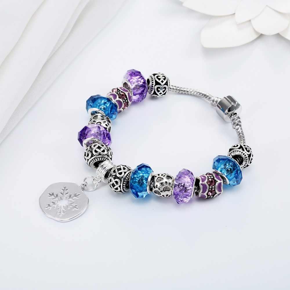 QIAMNI Bohemian Colorful Crystal Flower Murano Glass Beads Snake Chain Cuff Bracelet Bangles Original Handmade DIY Jewelry Gift