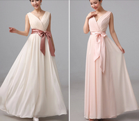 52003 champagne chiffon sexy sweetheart party dress new bridesmaid dresses long plus size maxi 2015 new arrival V neck