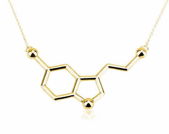 Daisies ส่วนบุคคล Silver & ชุบ Serotonin โมเลกุลสร้อยคอ Dainty เคมีจี้ Clavicle สร้อยคอ