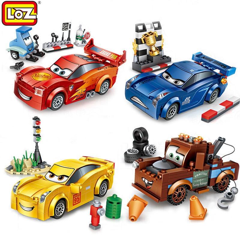 LOZ 4 Styles Mini DIY Assembly Model Bricks Cartoon Speed Racing Cars Blocks Loz For Kids Educational Birthday Gift Boys Toys diecasts mini cute cartoon cars knowledge of traffic educational