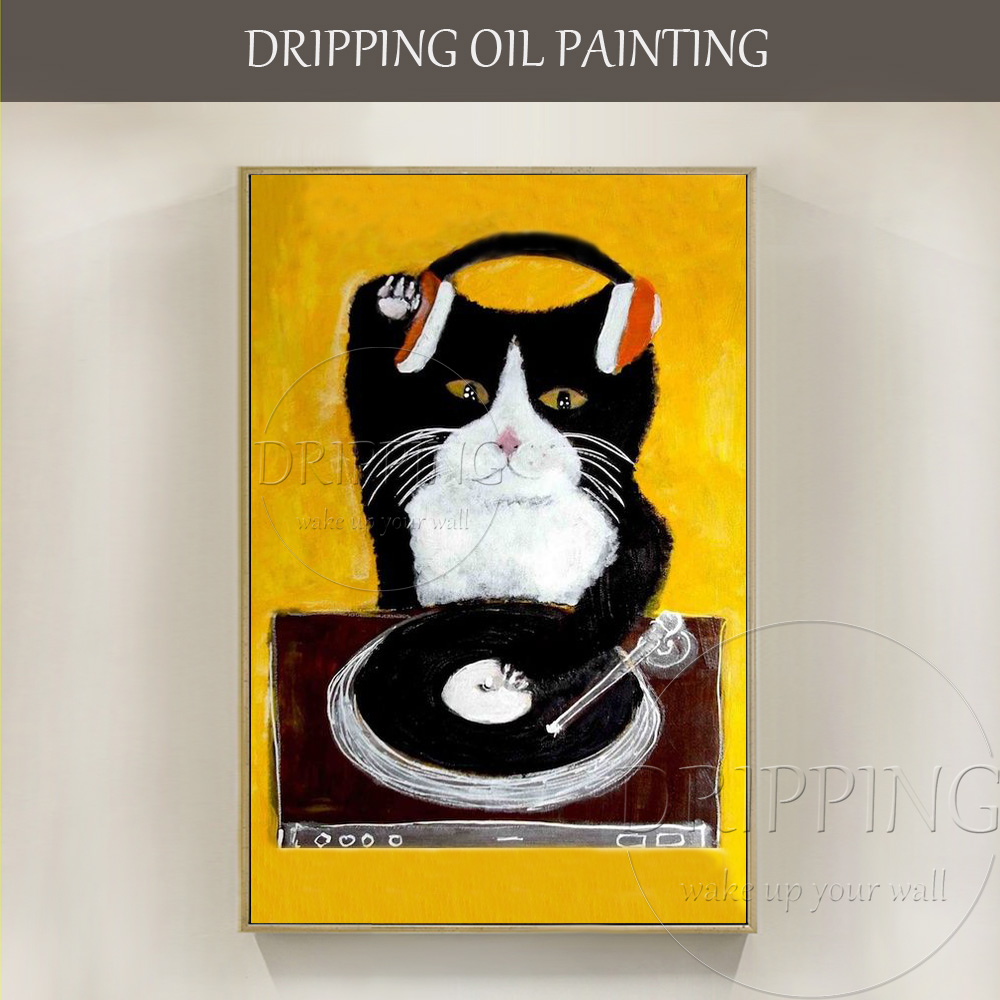 Funny Design Painter Hand painted High Quality Funny Cat DJ Oil Painting on Canvas Funny DJ Oil Painting for Party Decoration
