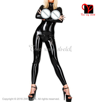 Black Sexy Latex Catsuit Breast Free bust Rubber bodysuit pants Jumpsuit overall plus size XXL LT 075