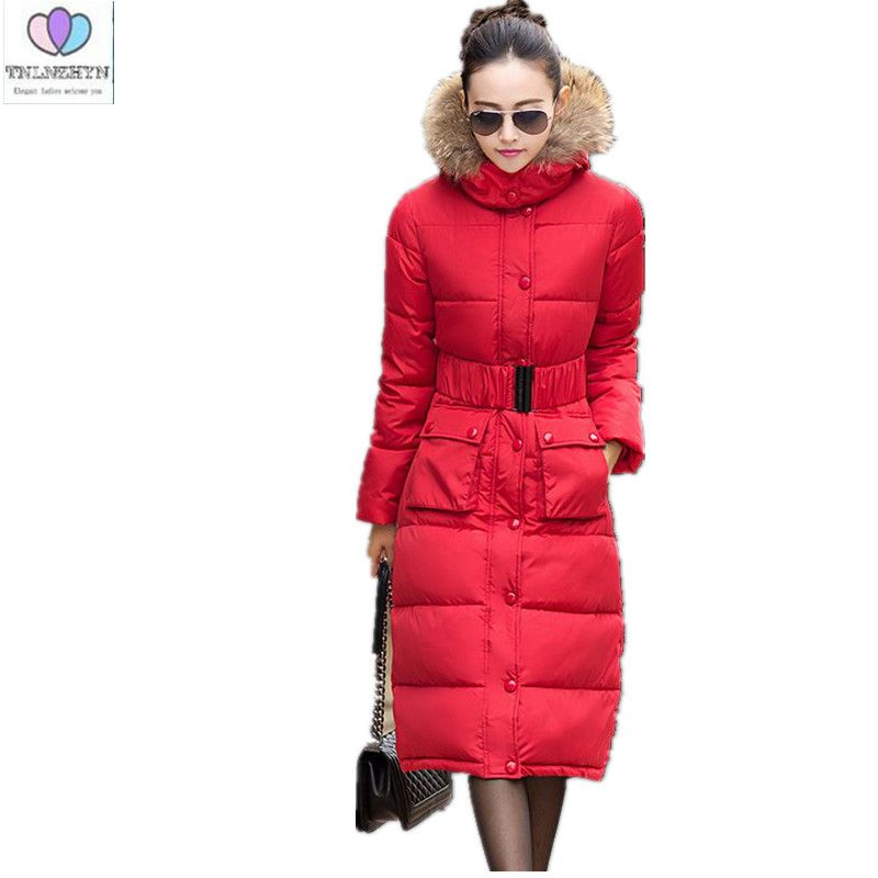 Подробнее о 2017 Winter New Women Cotton Down Jacket Elegance  Hooded Fur collar Thicken Warm Big yards Slim Long Overcoat With a belt G0519 2016 winter new male camo faux fur collar hooded outwear parkas men big size windproof warm thicken long down jacket overcoat