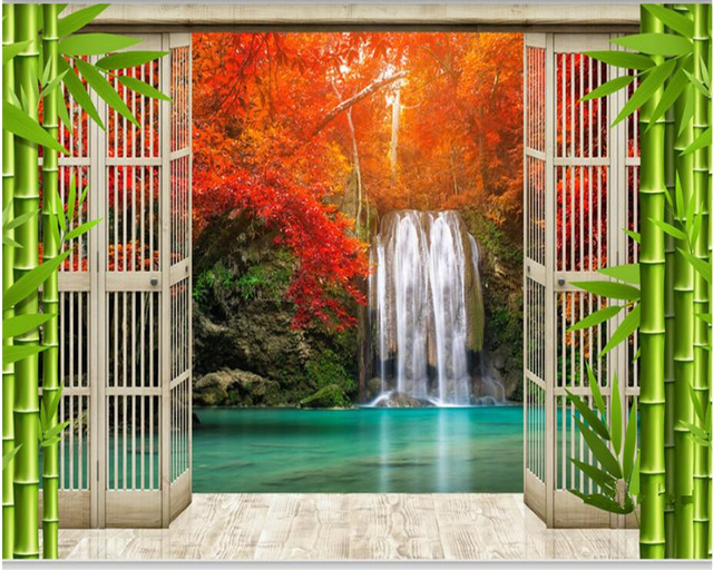 Beibehang New Papel De Parede Tapety Fashion Aesthetic Wallpaper Floor Window Outside The Waterfall Landscape Bedroom