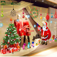 Popular Christmas Decoration Glass Window Stickers Santa Claus And Snow Tree Sitting Room Bedroom Wall Stickers