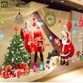 Large 220*110cm Removable Shop Glass Window Sticker Santa Claus Christmas Stickers Wall Stickers Vinilos Decorativos Paredes