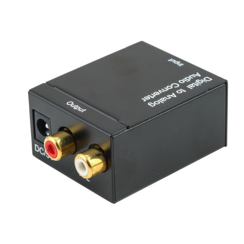 Digital Optical Toslink SPDIF Coax to Analog RCA Audio Converter Adapter with Fiber Cable 5 5 premium digital optical fiber optic toslink male to male audio cable golden black 500cm