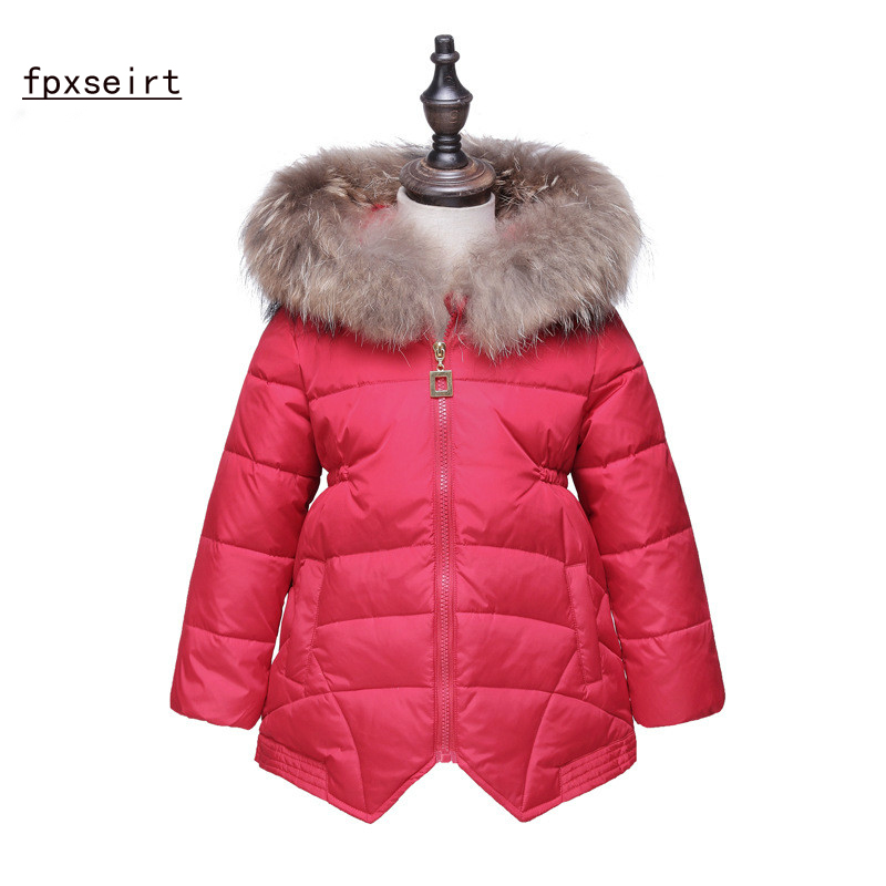 Girls Clothes Baby Cotton Coat Winter Thicker Children' s Clothing Winter jacket  Collar Fur Collar Hooded Long Coat SY1757 new korean version winter children s clothing baby girls thick fur collar hooded coat fashion casual children cotton warm coat