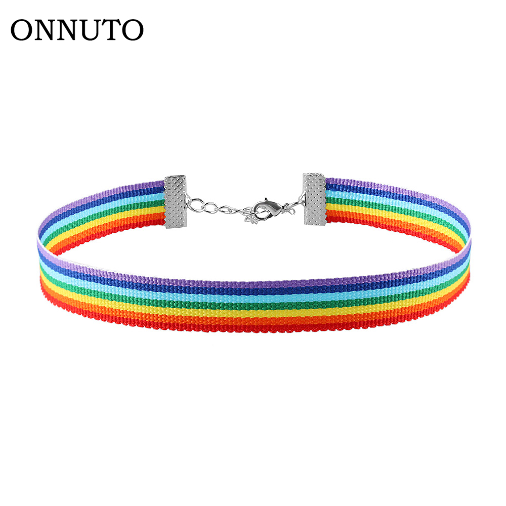 Men Women Gay Pride Rainbow Choker Necklace LGBT Gay and Lesbian Pride Lace Chocker Ribbon Collar with Pendant Jewelry золотые серьги по уху