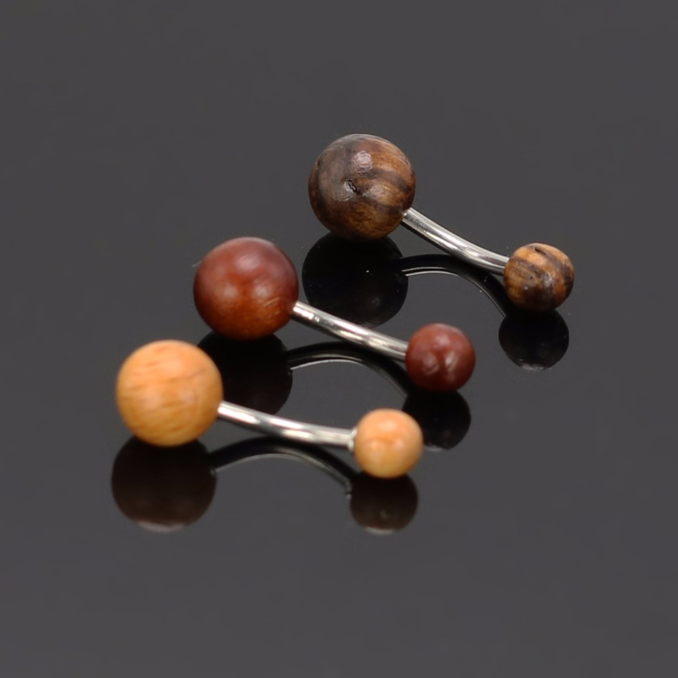 HTB1hyyZNpXXXXcnXFXXq6xXFXXXi Elegant Polished Natural Wood Ball Belly Button Ring For Women - 3 Colors