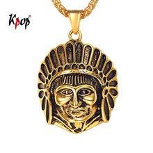 52a65f4e4ff0 Kpop hombres tribu jefe collar de Hiphop de la joyería Color del oro del  acero inoxidable nativos americanos indios P3530