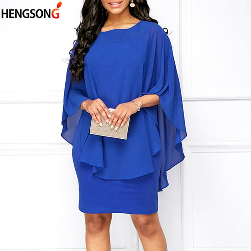 5XL Plus Size Women Dress 2019 Summer Casual Loose Chiffon Lapels Dresses Vestidos Office Lady Casual Work Dress