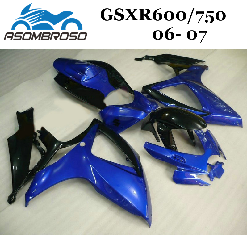 100% Injection mold <font><b>Fairing</b></font> for Suzuki K6 2006 <font><b>2007</b></font> GSXR750 <font><b>GSXR</b></font> <font><b>600</b></font> GSXR600 2006 <font><b>2007</b></font> dark blue motorcycle body <font><b>Fairings</b></font> <font><b>kit</b></font> image