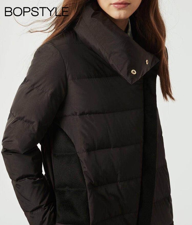 Diagonale Noir Éclair Patchwork Laine Veste Duvet Mode Manteau dames Blanc Vers Et Fermeture Le Long Épais 2018 Tissu Top De Canard Bas 4w7vAHzq