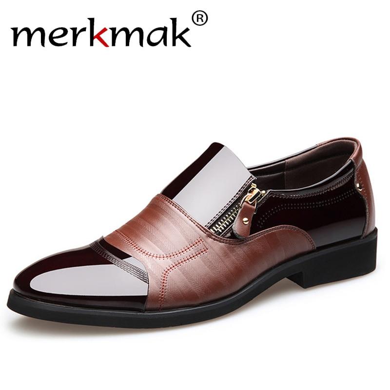 Merkmak Fashion Men Dress Shoes Genuine Leather Oxford Shoes Lace Up Casual Business Formal Men Shoes Brand Men Wedding Shoes big size 45 53 men genuine leather shoes oxford dress shoes men business shoes lace up casual shoes b172