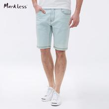 Markless 2016 Summer And Autumn Jeans Short Male Light Blue Denim Shorts Trend Straight Man Shorts