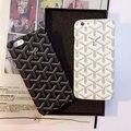 Люкс Ретро Goyar Кожаный Черный и Белый Простота Винтаж Задняя Крышка телефон дело Coque Для iPhone 6 6 S 6 Плюс 6 s Плюс Fundas