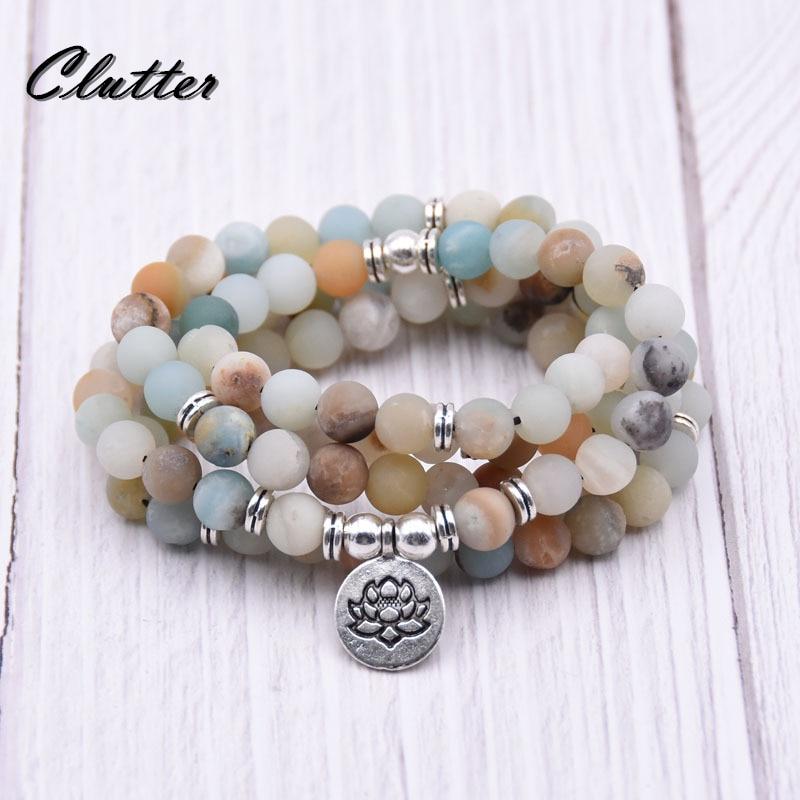 Strand Bracelets Ruberthen Fashion Yogi Mala Bracelet Women`s Fancy Beads Jewelry High Quality India Stone Lotus Charm Bracelet Quality First Jewelry & Accessories