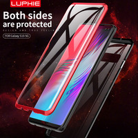 LUPHE Magnetic Adsorption Case For Samsung Galaxy S10 5g Clear Glass Hard Back Cover Metal Bumper Frame Protective Coque Shell