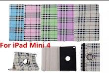Tablet Case For iPad Mini 4 Case 360 Rotation PU Plaid Scottish tartan for Smart Cover