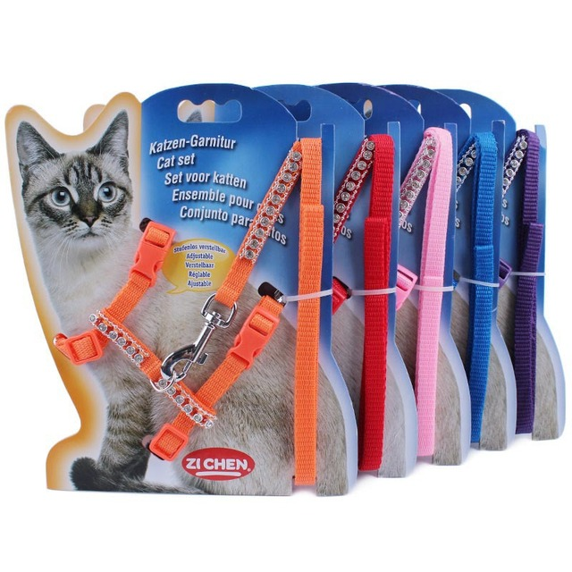 Bling Nylon Cat Harness 120cm Long Rhinestone Cat Leash Pet Walking Lead