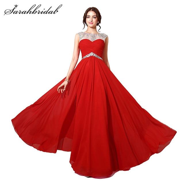 Rot Lange Prom Kleider Chiffon Luxus Kristall Sheer Neck A linie ...
