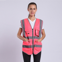 Pink Safety Vest For Women Hi Vis Vest With Reflective Stripes Safety Vest With Pockets And Zipper цена