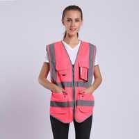 Rosa Giubbotto di Sicurezza Per Le Donne Hi Vis Maglia Con Strisce Riflettenti di Sicurezza Della Maglia Con Tasche E Cerniera