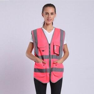 Image 1 - הוורודה לנשים היי Vis אפוד עם פסים רעיוני בטיחות אפוד עם כיסי רוכסן
