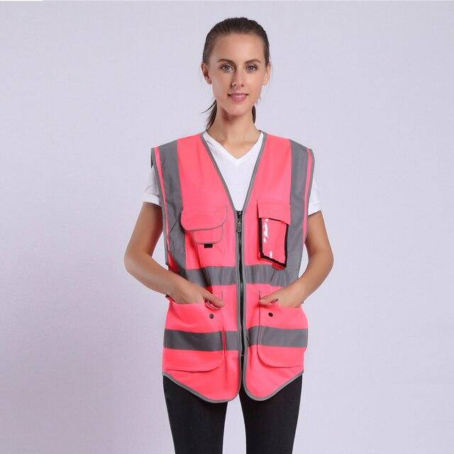 הוורודה לנשים היי Vis אפוד עם פסים רעיוני בטיחות אפוד עם כיסי רוכסן