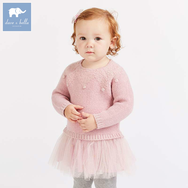 DB8543 dave bella baby Knitted Dress girls long sleeve autumn dresses kids mesh clothes children birthday party boutique dress цена