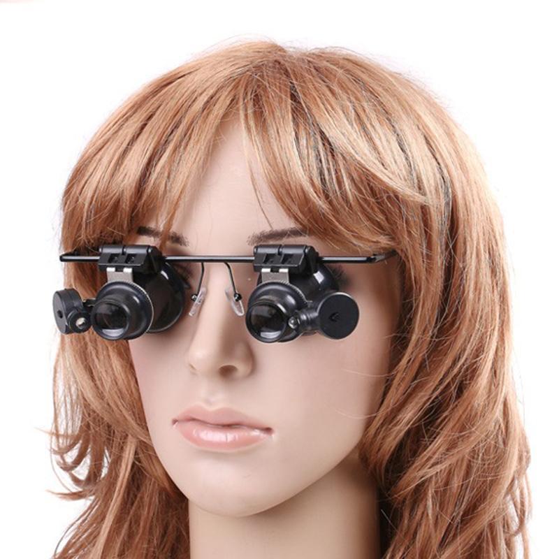 Ювелирные очки с увеличением 20x, увеличительные очки, лупа, линзы со светодиодной подсветкой, двойной глаз, ювелирные часы, ремонт, светодиодная подсветка, стиль ношения глаз