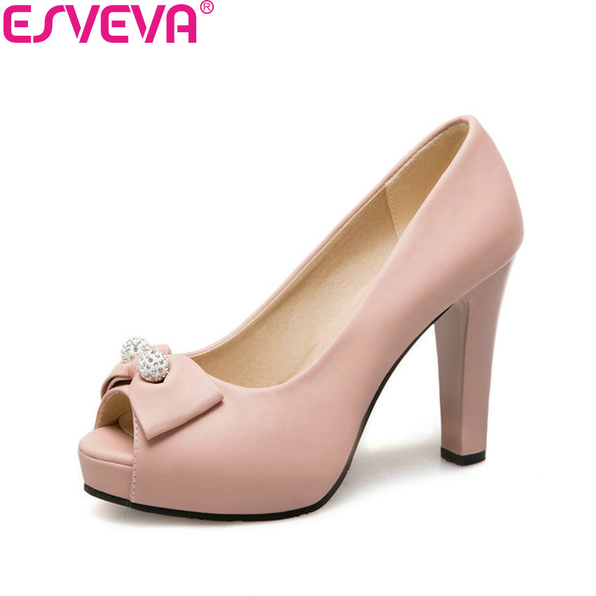 ESVEVA 2018 Women Pumps Shallow Shoes Square High Heels Spring and Autumn Peep Toe Butterfly-knot Ladies Pumps Shoes Size 34-43 siketu 2017 free shipping spring and autumn women shoes sex high heels shoes wedding shoes sweet lovely pumps g126