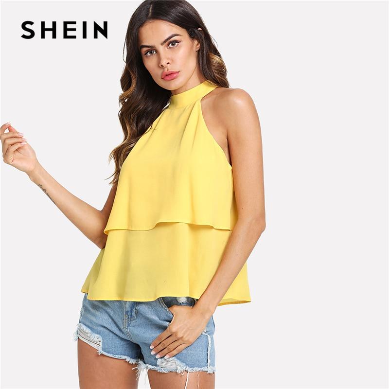 c1727600c9 SHEIN White Elegant Workwear Racer Back Marled Knit Mid Waist Skinny Halter  Bodysuit Summer Women Weekend Casual Bodysuits. US  8.00. SHEIN Yellow  Elegant ...