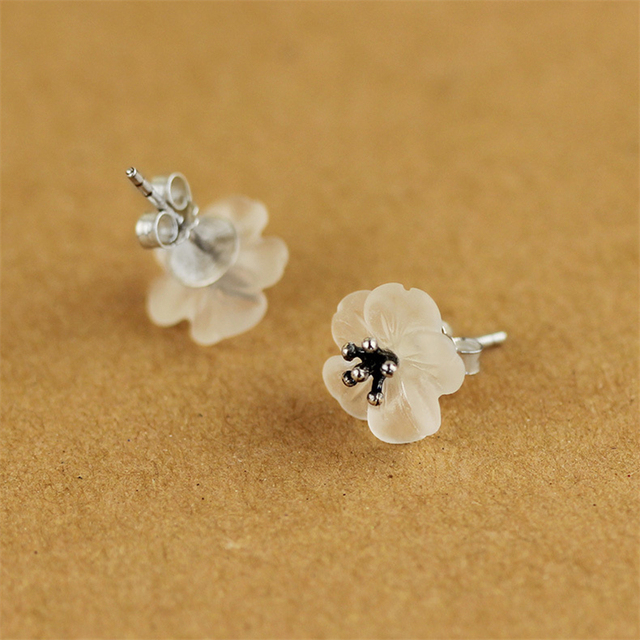 Lotus Fun Real 925 Sterling Silver Natural Crystal Handmade Fine Jewelry Flower in the Rain Stud Earrings for Women Brincos