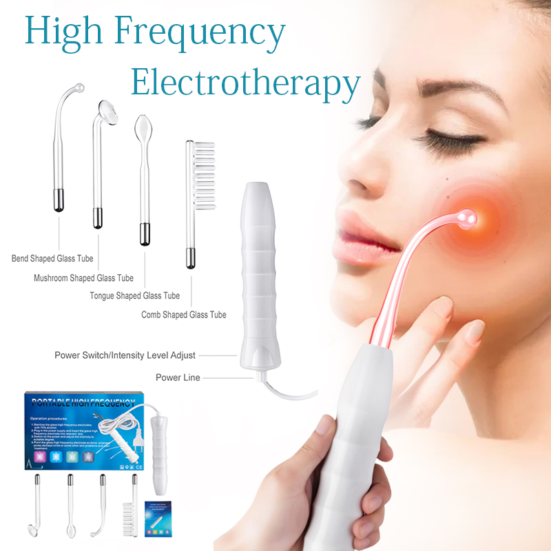 High Frequency D'arsonval Facial wand Eletrodo Spot Blackhead Acne remover Rosto Cuidados Com A Pele do Dispositivo da Beleza do Cabelo Spa Salão de Beleza em casa