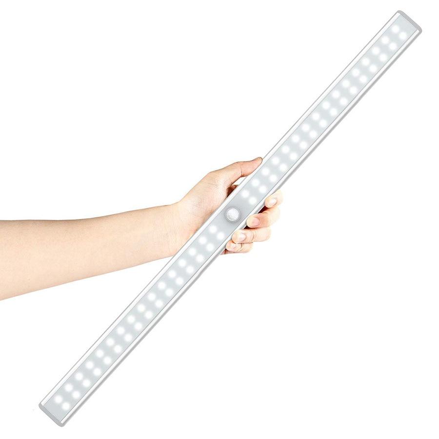 Sensor de movimiento PIR armario LED luz de la noche/20/36/64 leds LED recargable bajo del armario del Gabinete de luz para armario gabinete de armario