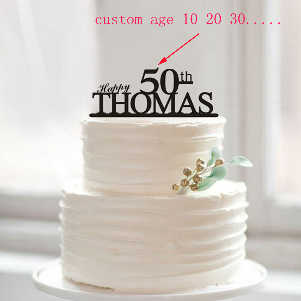 Happy 50th Birthday Cake Topper50th Anniversary TopperCustom Name 1 10 18 20 30 40 80 Unique Topper In Decorating Supplies